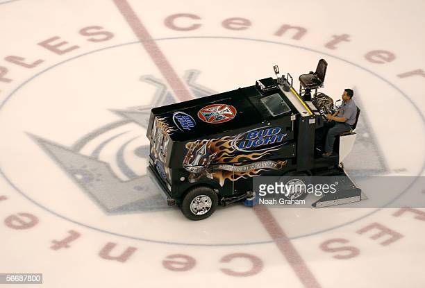 A zamboni prepares the ice before the start of the NHL game between the Los Angeles Kings and the Tampa Bay Lightning on January 17 2006 at the...
