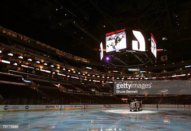 Zamboni sits on the ice prior to the game between the Los Angeles Kings and the Chicago Blackhawks the ice crew resurfaces the ice at the Staples...