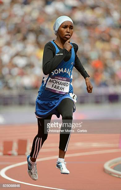 Zamzam Mohamed Farah from Somalia during the women's 400m qualification heats Athletics Day 7 at the Olympic Stadium during the 2012 London Olympic...