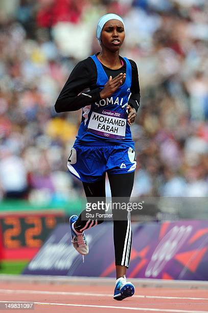 Zamzam Mohamed Farah of Somalia competes in the Women's 400m Heats on Day 7 of the London 2012 Olympic Games at Olympic Stadium on August 3 2012 in...