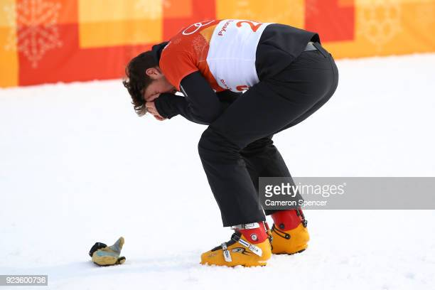Zan Kosir of Slovenia celebrates winning the Men's Snowboard Parallel Giant Slalom Small Final on day fifteen of the PyeongChang 2018 Winter Olympic...