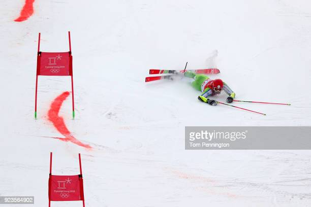Zan Kranjec of Slovenia falls during the Alpine Team Event 1/8 Finals on day 15 of the PyeongChang 2018 Winter Olympic Games at Yongpyong Alpine...