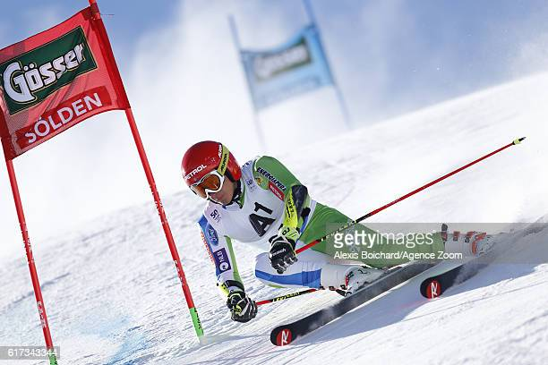 Zan Kranjec of Slovenia in action during the Audi FIS Alpine Ski World Cup Men's Giant Slalom on October 23 2016 in Soelden Austria