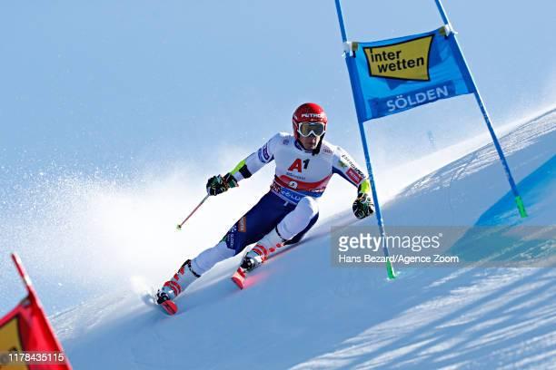 Zan Kranjec of Slovenia takes 3rd place during the Audi FIS Alpine Ski World Cup Men's Giant Slalom on October 27, 2019 in Soelden, Austria.