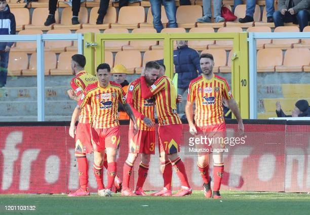 Zan Majer celebrates after scoring his team's second goal during the Serie A match between US Lecce and SPAL at Stadio Via del Mare on February 16...