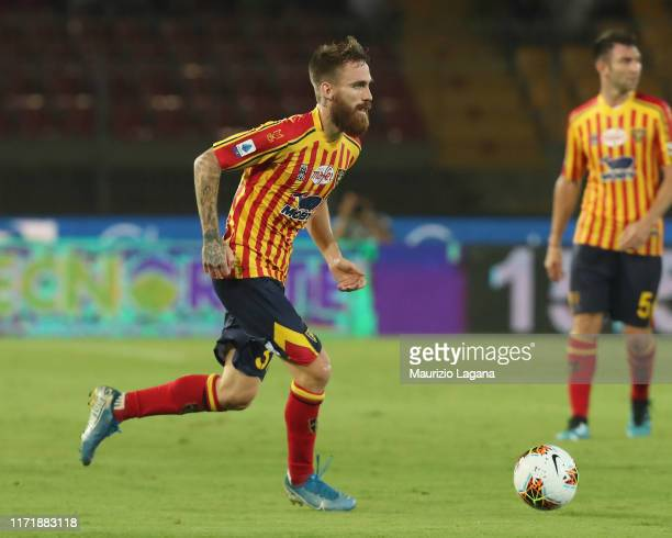 Zan Majer of Lecce during the Serie A match between US Lecce and Hellas Verona at Stadio Via del Mare on September 1 2019 in Lecce Italy