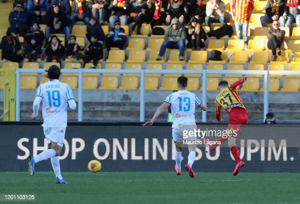Zan Majer scores his team's second goal during the Serie A match between US Lecce and SPAL at Stadio Via del Mare on February 16 2020 in Lecce Italy