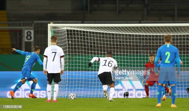 Zan Medved of Slovenia scores his teams first goal during the international friendly match between Germany U21 and Slovenia U21 at Eintracht-Stadion...