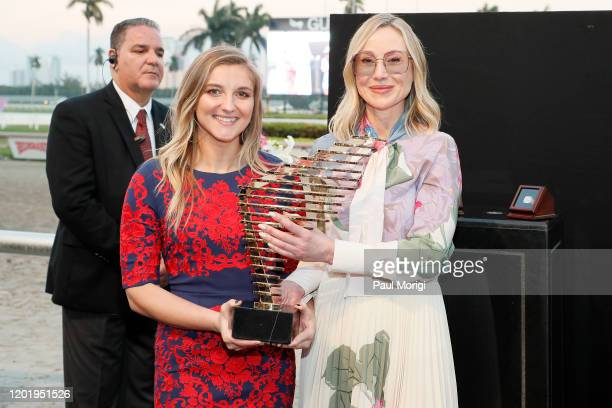 Zan Wilson and Belinda Stronach in the Winners Circle during the 2020 Pegasus World Cup Championship Invitational Series at Gulfstream Park on...