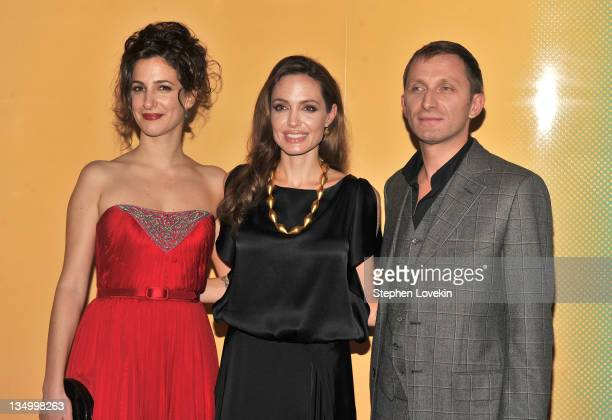 Zana Marjanovic Angelina Jolie and Goran Kostic attend the premiere of 'In the Land of Blood and Honey' at the School of Visual Arts on December 5...