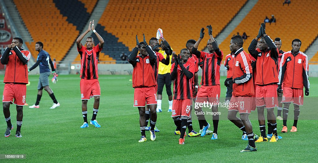 Zananco FC players greating supporters during the CAF Confedaration Cup match between Orlando Pirates and Zanaco at FNB Stadium on April 06, 2013 in Johannesburg, South Africa.