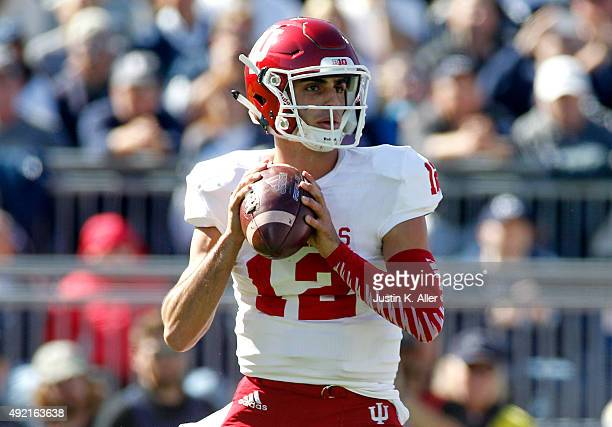 Zander Diamont of the Indiana Hoosiers drops back to pass in the first half during the game against the Penn State Nittany Lions on October 10 2015...
