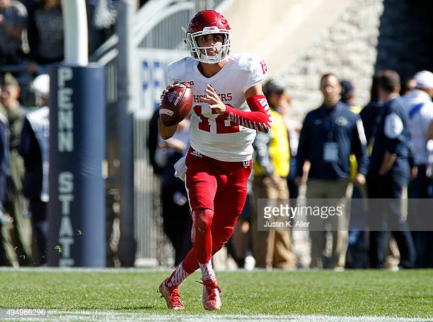 Zander Diamont of the Indiana Hoosiers in action during the game against the Penn State Nittany Lions on October 10, 2015 at Beaver Stadium in State...
