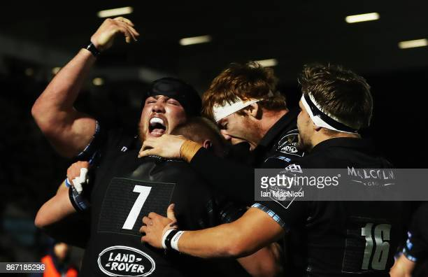 Zander Fagerson of Glasgow Warriors celebrates after he runs through to score his team's fourth try during the Glasgow Warriors and Southern Kings...