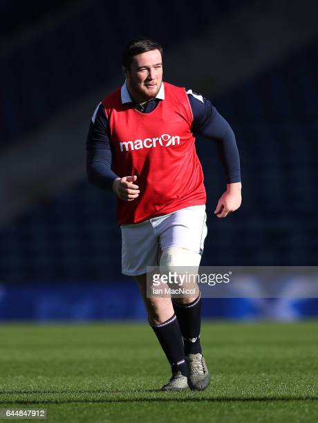 Zander Fagerson of Scotland is seen during the Captain's Run ahead of tomorrows 6 Nations Rugby match between Scotland and Wales at Murrayfield on...