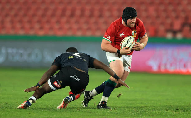 JOHANNESBURG, SOUTH AFRICA - JULY 07: Zander Fagerson of The British and Irish Lions goes past Fezokuhle Mbatha of Cell C Sharks during the Cell C Sharks v British & Irish Lions tour match at Emirates Airline Park on July 07, 2021 in Johannesburg, South Africa. (Photo by David Rogers/Getty Images)