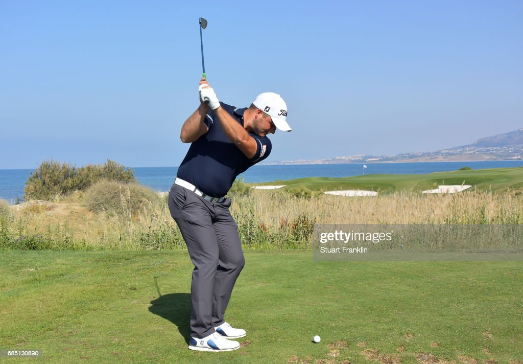 Zander Lombard of South Africa plays a shot on the seventh hole during the second round of The Rocco Forte Open at The Verdura Golf and Spa Resort on May 19, 2017 in Sciacca, Italy.