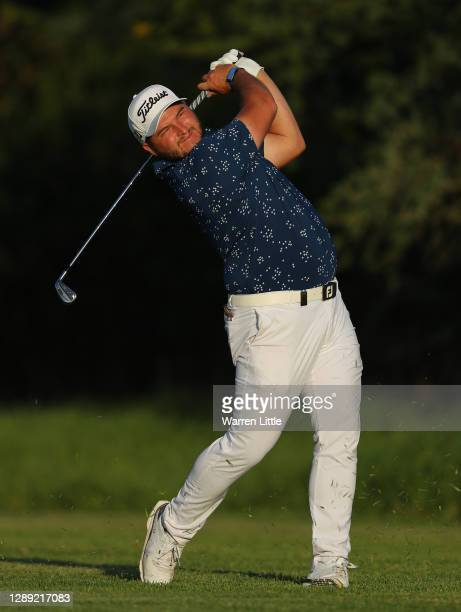 Zander Lombard of South Africa plays his second shot on the 18th hole during Day One of the South African Open at Gary Player CC on December 03, 2020...