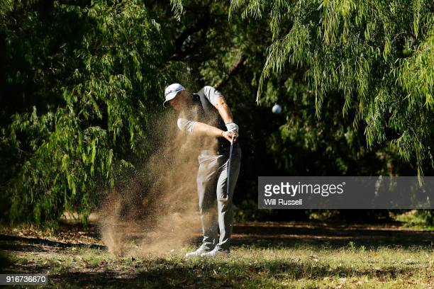 Zander Lombard of South Africa plays his second shot on the 2nd hole during day four of the World Super 6 at Lake Karrinyup Country Club on February...