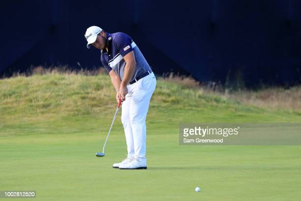 Zander Lombard of South Africa putts for eagle on the 14th hole during the second round of the 147th Open Championship at Carnoustie Golf Club on...