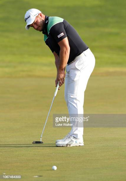Zander Lombard of South Africa putts on the 18th hole during Day Five of the European Tour Qualifying School Final Stage at Lumine Golf Club on...