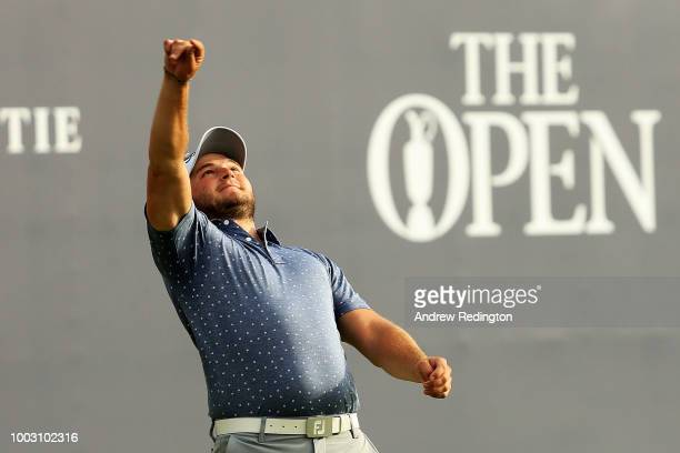 Zander Lombard of South Africa throws the ball into the crowd after his eagle on the 18th hole during the third round of the 147th Open Championship...