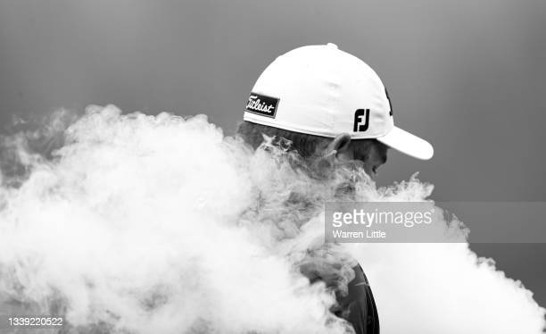 Zander Lombard of South Africa walks down the 9th hole during Day One of The BMW PGA Championship at Wentworth Golf Club on September 09, 2021 in...