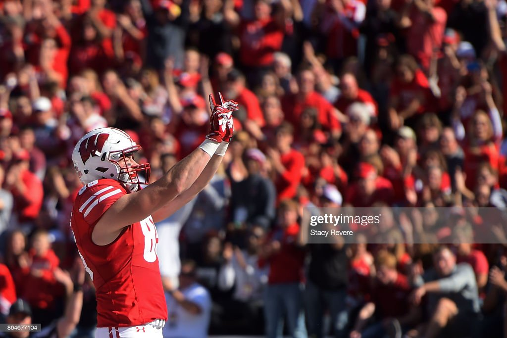 Zander Neuville #85 of the Wisconsin Badgers celebrates a touchdown against the Maryland Terrapins during the second quarter at Camp Randall Stadium on October 21, 2017 in Madison, Wisconsin.
