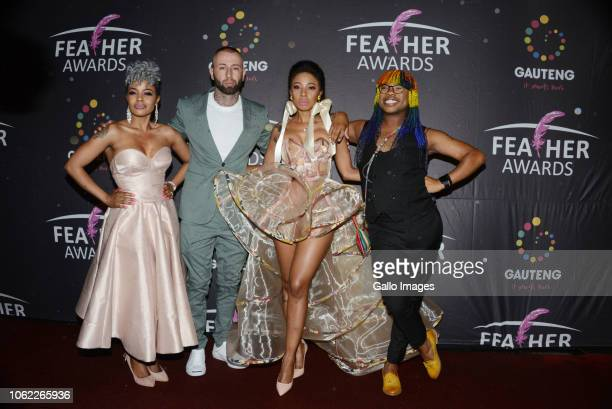 Zandi KhumaloSinger Kelly Khumalo with her new boyfriend Hip Hop star Chad Da Don and Thami Kotlolo during the 10th annual Feather Awards at the...
