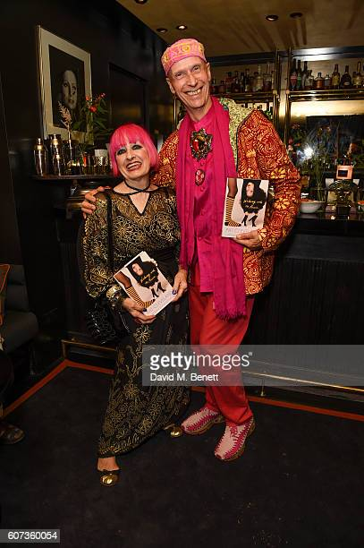 Zandra Rhodes and Andrew Loganattends the launch of model Pat Cleveland's new book Walking With The Muses at Blakes Below on September 17 2016 in...
