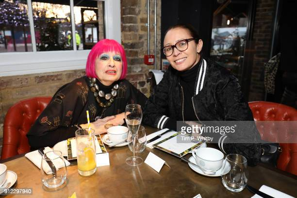 Zandra Rhodes and Caroline Rush Chief executive of the British Fashion Council attend an afternoon tea event to discuss the upcoming London Fashion...