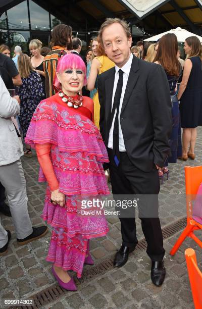 Zandra Rhodes and Geordie Greig attend British Vogue editor Alexandra Shulman's leaving party at Dock Kitchen on June 22 2017 in London England