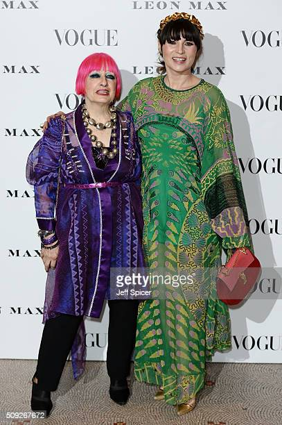Zandra Rhodes and Grace Woodward attend at Vogue 100 A Century Of Style at the National Portrait Gallery on February 9 2016 in London England