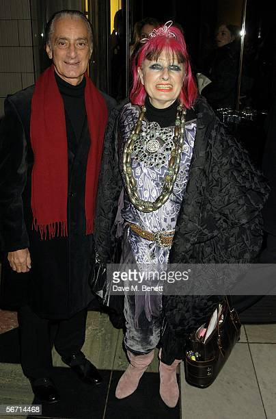Zandra Rhodes and guest attend the private view for Anna Piaggi's new exhibition Fashionology at the Victoria Albert Museum on January 31 2006 in...