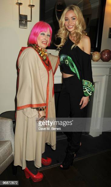 Zandra Rhodes and Noelle Reno attend the Z By Zandra Rhodes launch party at The Arch Hotel on February 19 2010 in London England