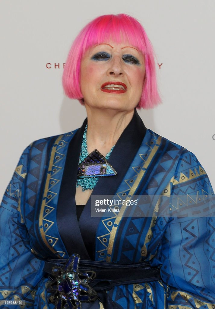 Zandra Rhodes attends British luxury furnishings designer Christopher Guy presents BritWeek design icon award to design director of Jaguar Ian Callum at Christopher Guy West Hollywood Showroom on April 26, 2013 in West Hollywood, California.