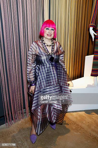 Zandra Rhodes attends the Missoni Art Colour preview in partnership with The Woolmark Company at The Fashion and Textile Museum on May 4 2016 in...