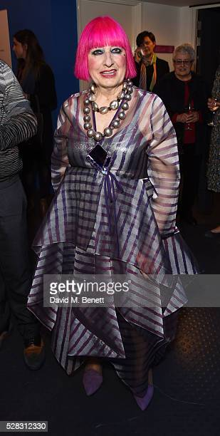 Zandra Rhodes attends the 'Missoni Art Colour' private view and dinner in partnership with Woolmark at The Fashion and Textile Museum on May 4, 2016...