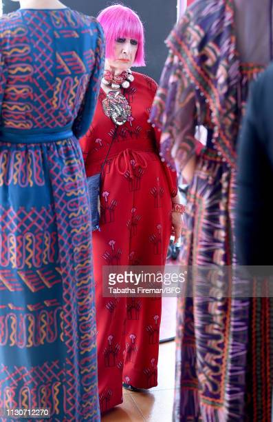 Zandra Rhodes backstage ahead of the Zandra Rhodes Presentation during London Fashion Week February 2019 on February 19 2019 in London England