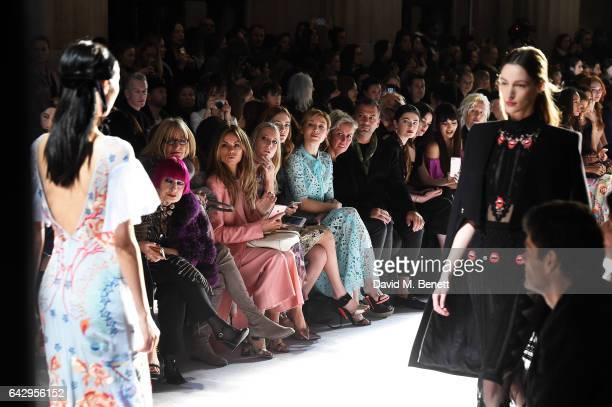 Zandra Rhodes guest Erica Pelosini Alice Nayor Leyland Emilia Jones and Juliet Rylance sit in the front row during the Temperley London FW 17 Fashion...