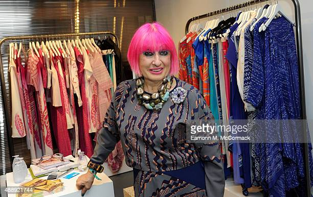 Zandra Rhodes is seen on her stand during London Fashion Week Spring/Summer 2016 on September 18 2015 in London England