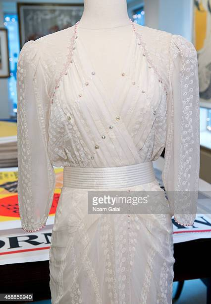 Zandra Rhodes ivory silk chiffon gown embellished with simulated pearls and deep pink faceted glass worn by HRH Princess Diana to the Birthright...