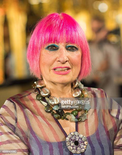 Zandra Rhodes poses during the Zandra Rhodes presentaion during London Fashion Week Spring/Summer 2016/17 on September 18 2015 in London England