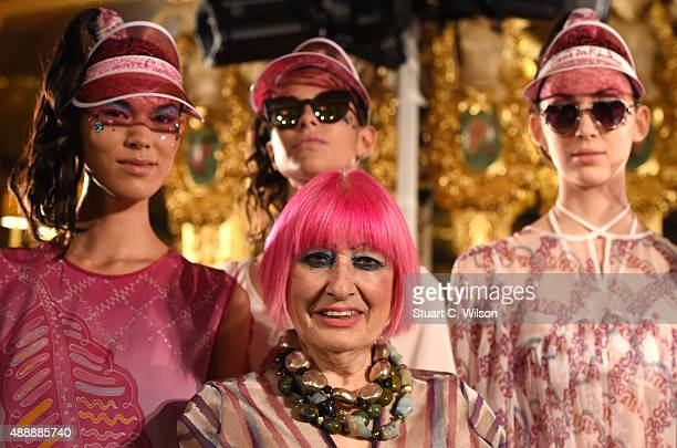 Zandra Rhodes poses with models at her presentation during London Fashion Week Spring/Summer 2016 on September 18 2015 in London England