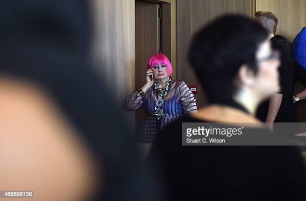 Zandra Rhodes prepares backstage priot to her presentation during London Fashion Week Spring/Summer 2016 on September 18 2015 in London England