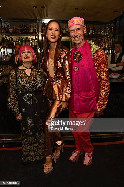 Zandra RhodesPat ClevelandAndrew Logan attend the launch of model Pat Cleveland's new book Walking With The Muses at Blakes Below on September 17...