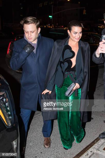 Zandy Reich and Lea Michele are seen arriving at Bowery Hotel on January 25 2018 in New York New York