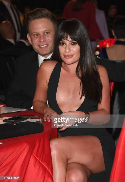 Zandy Reich and Lea Michele attend Elton John AIDS Foundation 26th Annual Academy Awards Viewing Party at The City of West Hollywood Park on March 4...