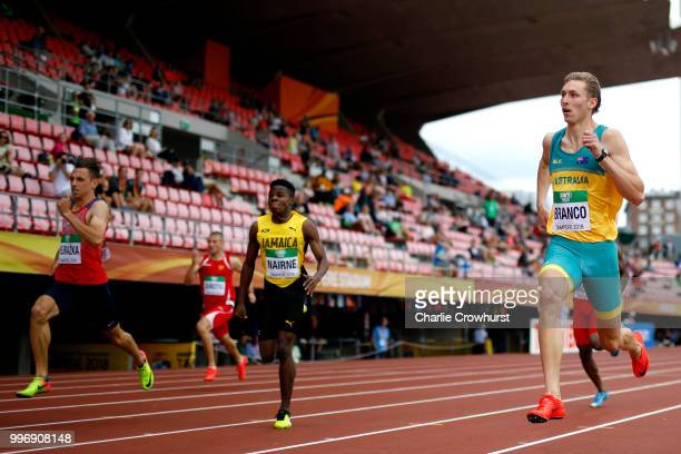 Zane Branco of Australia in action during a heat of the mens 200m on day three of The IAAF World U20 Championships on July 12 2018 in Tampere Finland