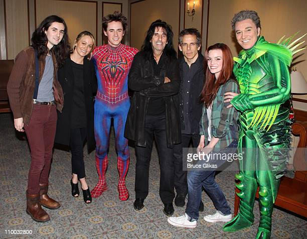 "Zane Carney, Christine Taylor, Reeve Carney as ""Spider-Man"", Alice Cooper, Ben Stiller, Jennifer Damiano and Patrick Page as ""The Green Goblin"" pose..."